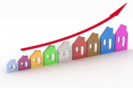 Photo for Growth in real estate shown on graph - Royalty Free Image