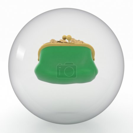 Green purse in transparent sphere on white background