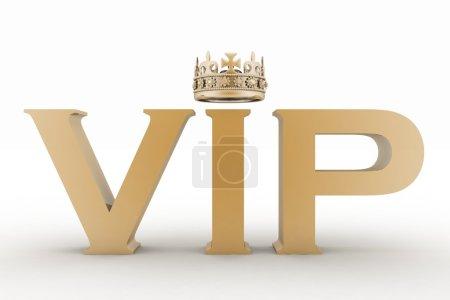 Photo pour Abréviation de VIP avec une couronne. texte 3D isolé - image libre de droit