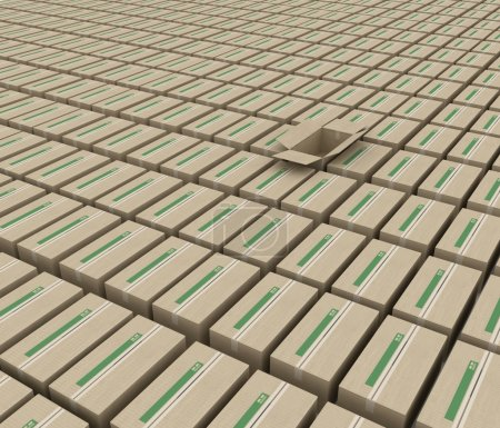 3d render the space occupied by boxes for goods.