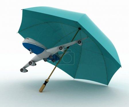 Photo pour Avion de ligne vole sous le parapluie. conception de l'assurance sur les vols aériens - image libre de droit