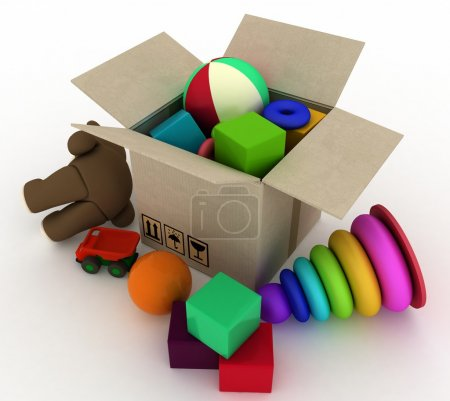 child's toys are in a box
