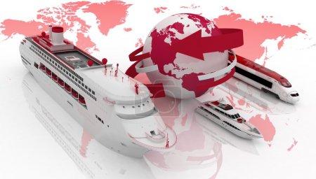 Photo pour Paquebot, yacht et train sur une carte du monde. Types de transport pour une croisière - image libre de droit