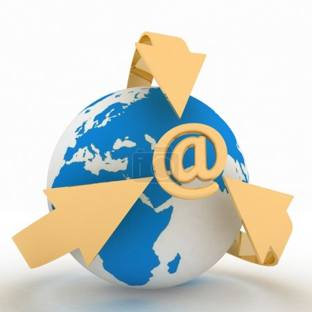 E-Mail concept with globe and arrows