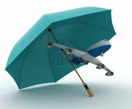 Photo pour L'avion de passagers vole sous le parapluie. conception de l'assurance sur les vols aériens - image libre de droit