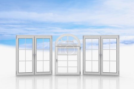 Photo for White windows with blue sky with clouds - Royalty Free Image