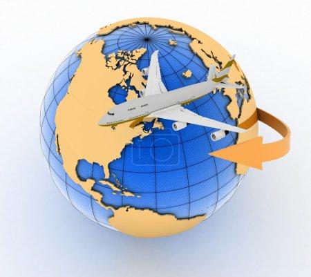 Foto de Viajes de avión jet de pasajeros. Ilustración 3D render sobre fondo blanco - Imagen libre de derechos
