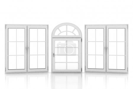 Photo for 3d illustration of closed plastic windows on white background - Royalty Free Image