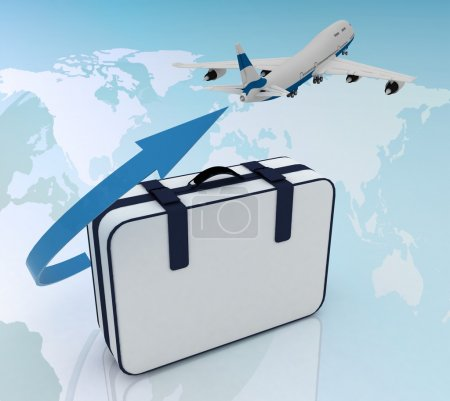 Photo for Airliner and suitcase on map background - Royalty Free Image
