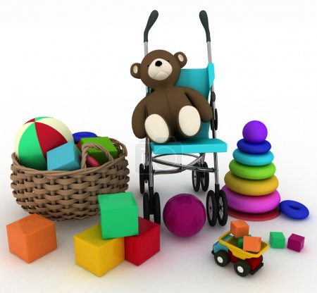 Child's toys in a small basket and pram