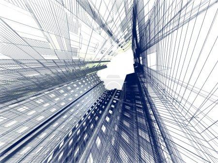 Photo pour Bâtiment moderne abstrait. rendu 3d sur fond blanc - image libre de droit