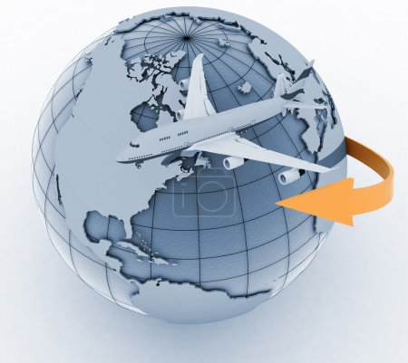 Passenger jet airplane travels