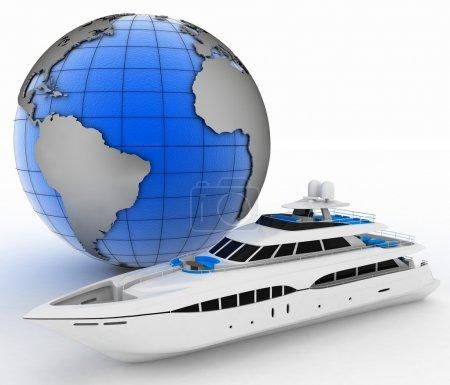 Yacht and globe. 3d illustration on white isolated background.