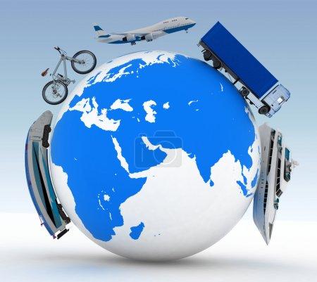 Photo pour Types de transport sur un globe - image libre de droit