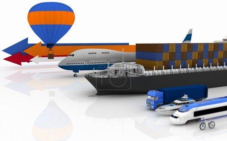 types of transport. 3d illustration on white background.