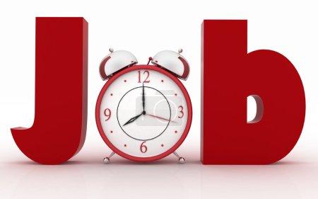 Alarm clock in the word job.