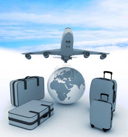 avion de ligne et de valises sur fond de ciel