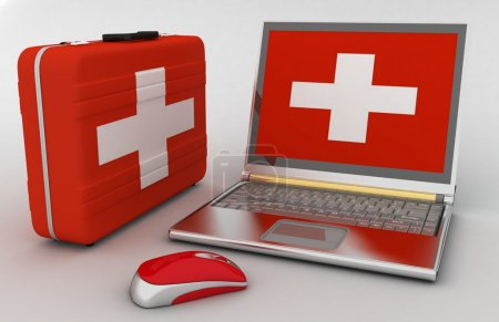 Photo for Concept of diagnosis and repair of computer. 3d illustration - Royalty Free Image
