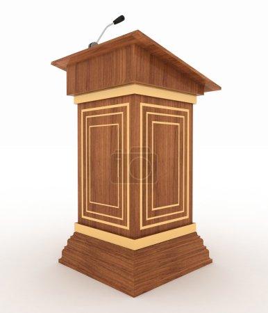 Photo pour Podium et microphone. Illustration 3D isolée sur fond blanc - image libre de droit