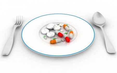 Pills on the plate