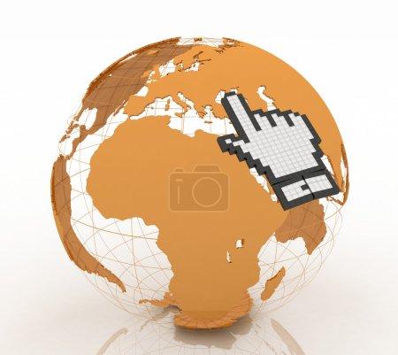 Hand cursor and earth globe