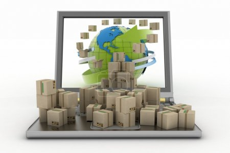 Cardboard boxes around the globe on a laptop screen