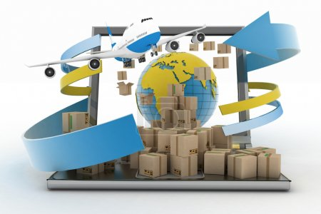 Concept of online goods orders worldwide