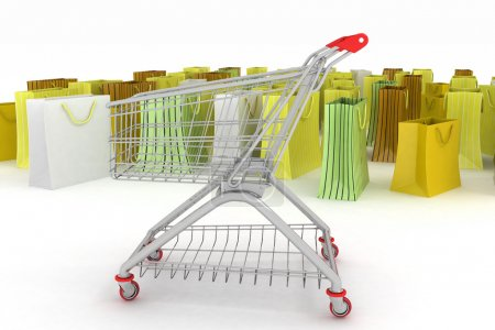 shopping cart and shopping bags