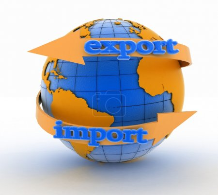 Photo for Import and export arrow around earth for business. Direction concept. 3d illustration on white background - Royalty Free Image