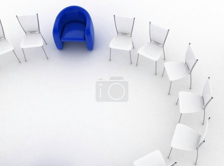 arm-chair of chief and group of chairs stands