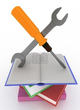 Photo pour Concept de manuel icône soutien soit d'une instruction technique. isolé sur fond blanc. - image libre de droit