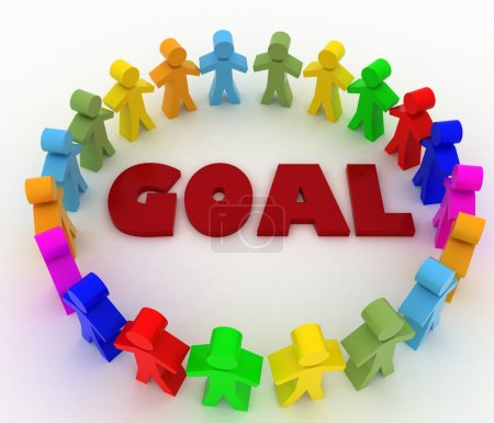 People stand around the word goal. Conception of cooperation
