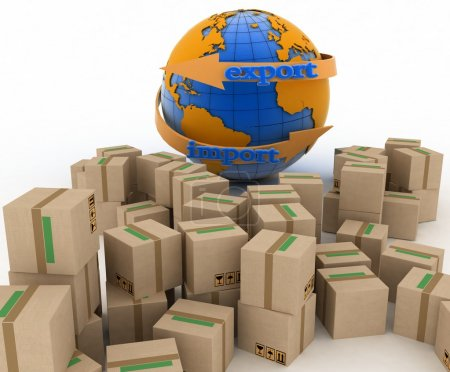 Import and export arrow around earth for business. Concept of buying goods worldwide.