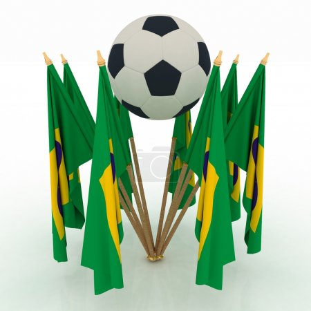 Soccer ball with brazil flags