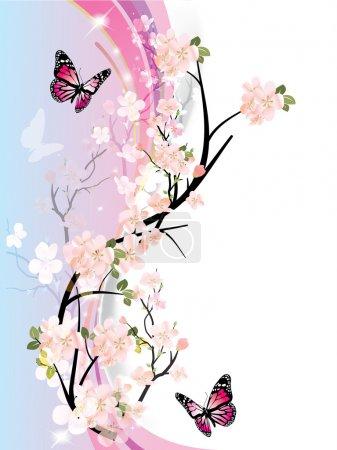 Illustration pour Cadre vectoriel avec de belles fleurs et papillon - image libre de droit