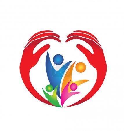 Photo pour Famille protégée par des mains en forme de coeur logo - image libre de droit