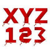 Ribbon letters XYZ and123numbers holiday collection
