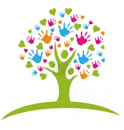 Illustration for Tree with hands and hearts figures logo vector - Royalty Free Image