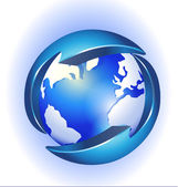 Connection to world logo vector