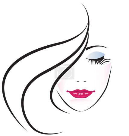 Face of pretty woman silhouette vector...
