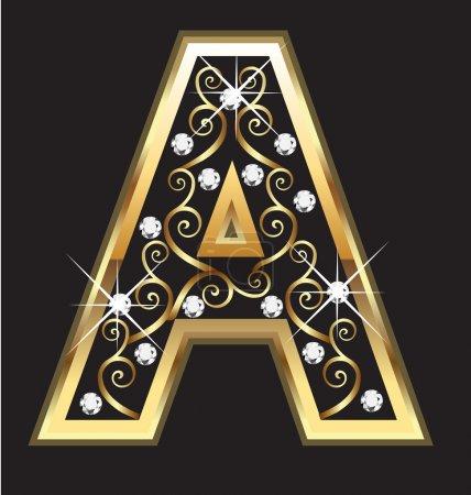 Illustration pour Une lettre d'or avec des ornements tourbillonnants vecteur - image libre de droit