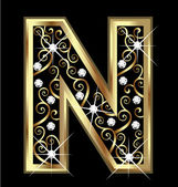 N gold letter with swirly ornaments vector