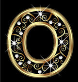 O gold letter with swirly ornaments vector