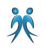 Happy men business partners logo
