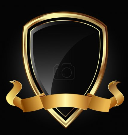 Shield and ribbon in bright gold vector