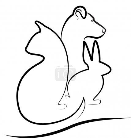 Illustration pour Chien chat et silhouettes de lapin logo vecteur - image libre de droit