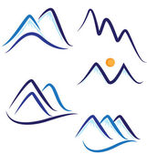 Set of stylized snowy mountains logo vector