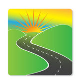 Sun hills and road vector design