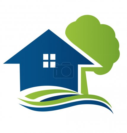 Illustration for House with tree and waves logo vector - Royalty Free Image