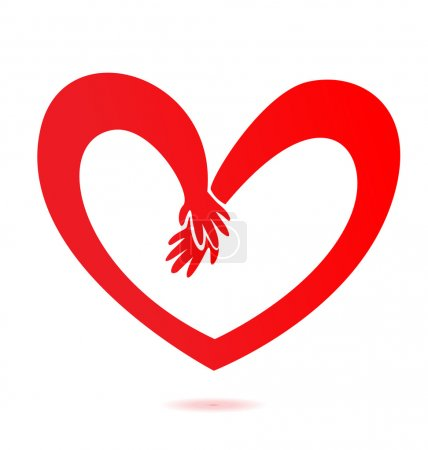 Illustration for Helping hands with love logo vector - Royalty Free Image